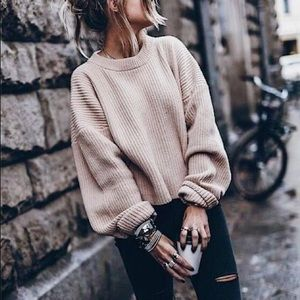Oversized White Sweater with Tie Bow Back